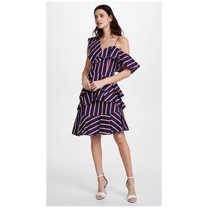 alice + olivia Laflora Asymmetrical Ruffle Dress